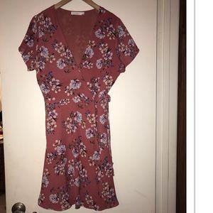 Lush Floral Wrap Dress Size XL